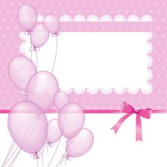 Rosa Luftballone mit Rahmen
