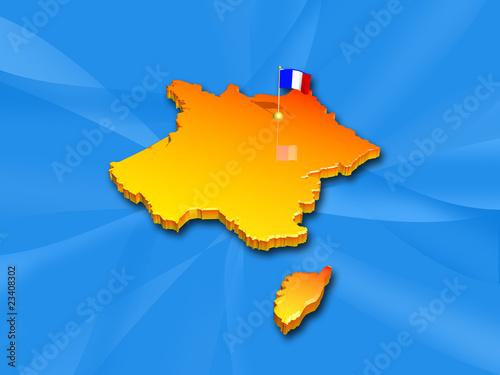 """""""carte de france 3d orange bleu"""" photo libre de droits sur la banque d'images Fotolia.com ..."""