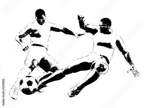 Fussballspieler Im Zweikampf Zeichnung Silhouette Stock
