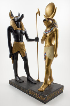 Statues of Horus and Anubis in Human form