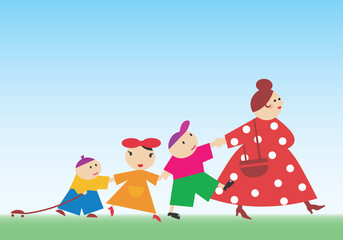Kids walking with their nanny. Vector illustration