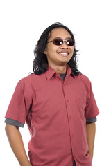 Long Haired Man With Sunglasses Feel Confident