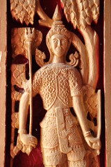 carving on door of temple,  Boa Yai, Borabue, Mahasarakam