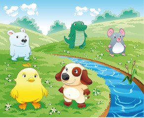 Canvas Prints River, lake Baby pets near the river. Cartoon and vector illustration.