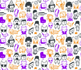 Seamless funny doodles pattern