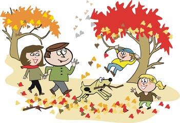 Family autumn walking cartoon