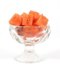 Cut watermelon cut in a small desert dish