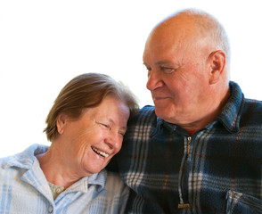 elderly husband and wife on a white background