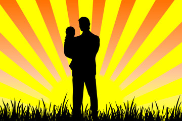 Father and child .Illustration can be used for father day.