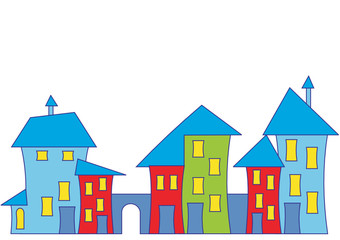 Cartoon town house. Colorful houses. Vector