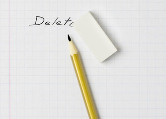 A pencil, an eraser and the word 'delete'
