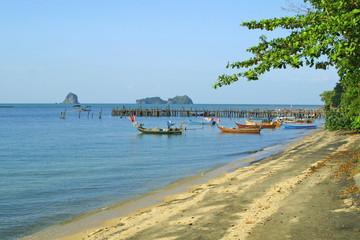 Famous black sand beach on Langkawi island, Malaysia