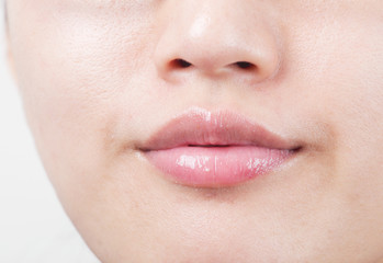Beautiful lips of an attractive woman