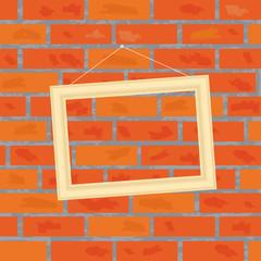 Frame on a brick wall. Vector illustration