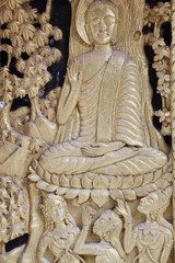 art carving on window of Wat Kwan Muang, Borabue, Mahasarakam