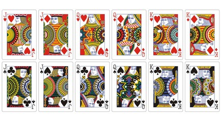 playing cards jack queen king with ornaments