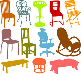 Set of a various chairs