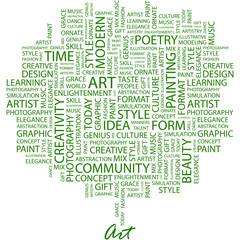 ART. Word cloud concept illustration.