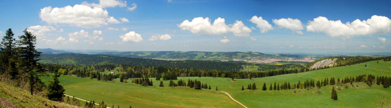 Panorama of Suitzerland Jura seen from Tete de Run