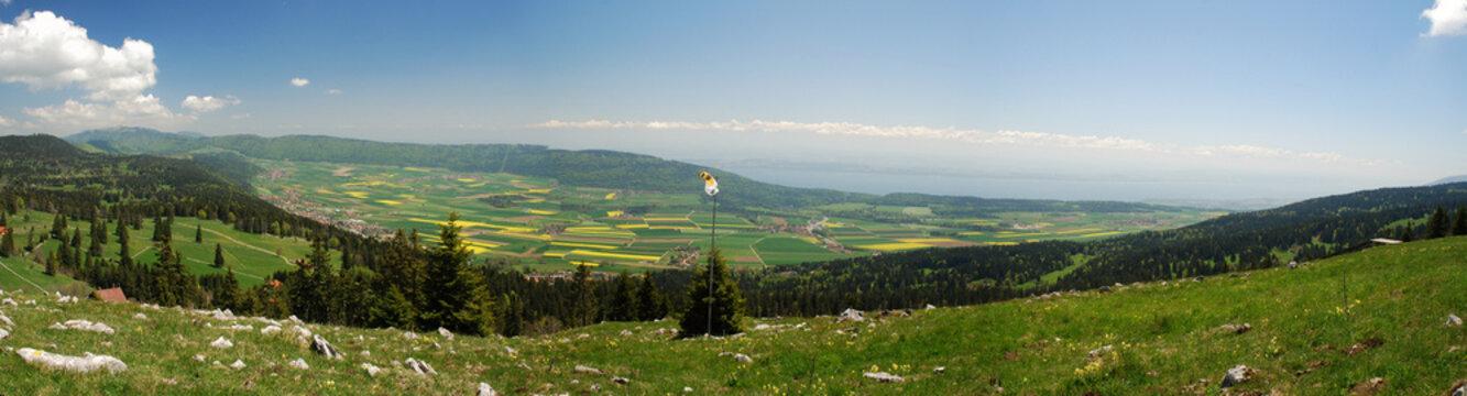 Panorama of Neuchatel region seen from Tete de Run