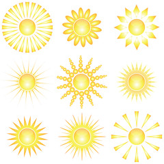 Decorative sun symbols.