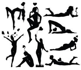 Romantic woman silhouette set