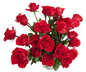 24 Roses in Glass Vase