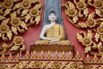 art on gable of temple, Wat Lhao Yao, Borabue, Mahasarakam
