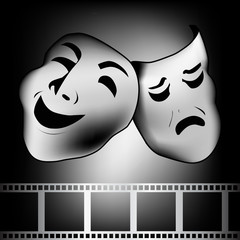blakc theatrical mask of tragedy and comedy vector