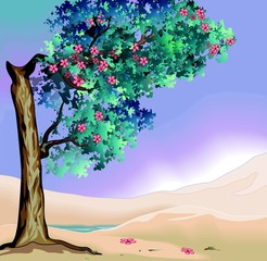Illustration of tree in landscape background