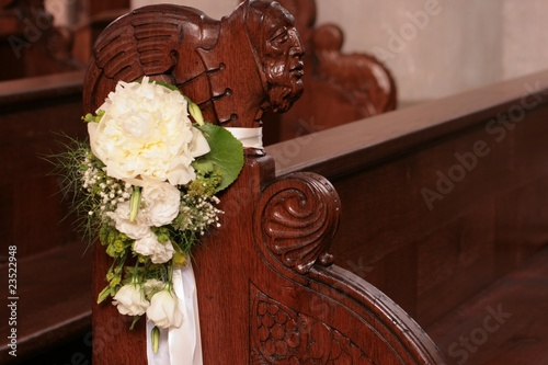 Blumenschmuck An Kirchenbank Stock Photo And Royalty Free Images On