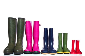 Group of wellie boots Wall mural