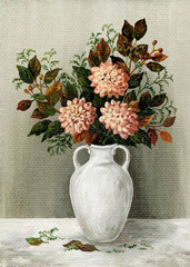 Asters in a white jug