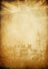 Grunge vintage background. London theme. With space for text.
