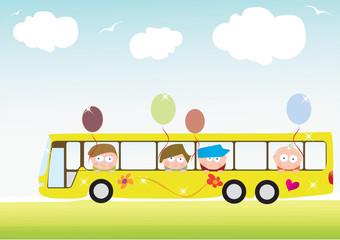 Playful children in a school bus