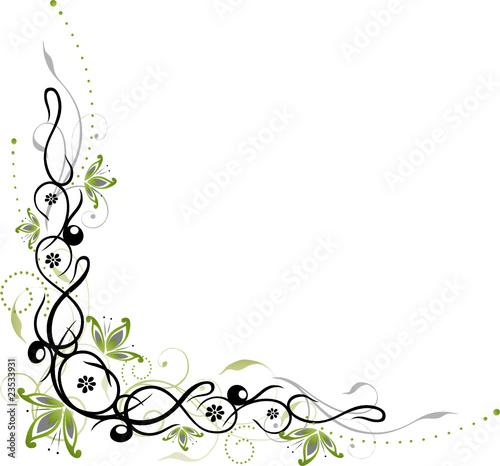 ranke floral filigran blumen bl tter gr n schwarz stock image and royalty free vector. Black Bedroom Furniture Sets. Home Design Ideas