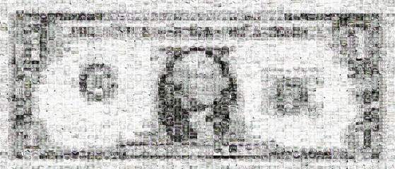 Mosaic of one dollar made of thousands of images