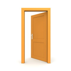 Open Single Orange Door