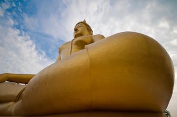 The biggest buddha image at wat muang thailand.