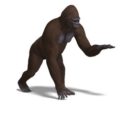 gorilla presenting something. 3D rendering with clipping path an