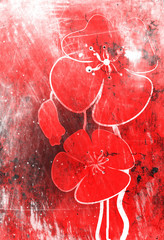 Poppies on the old grunge texture