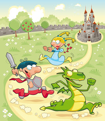 Poster Kasteel Dragon, Prince and Princess with background. Vector scene.