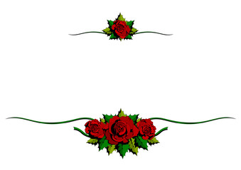 Red Rose whit Green leaves, two floral ornaments