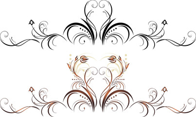 Two floral elements for decor. Vector