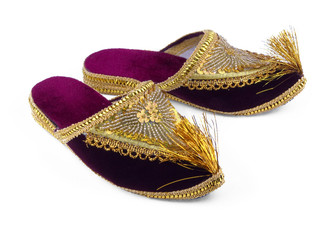 Gold embroidered shoes