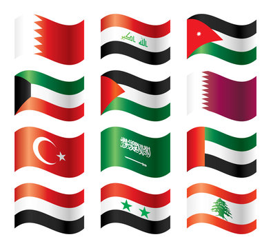Wavy flags set - Middle East Asia