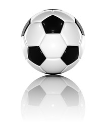 3d rendered soccer ball on white background