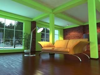Modern empty interior with orange sofa