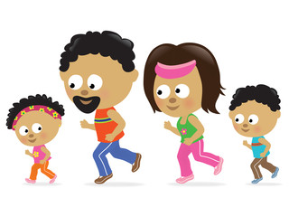 Family jogging (African American)