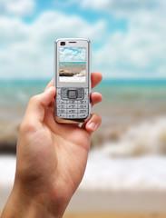 Sea landscape into mobile screen